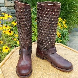 Frye Jenna disc tall studded engineer boots